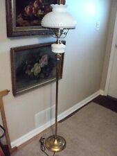 "Fenton White Milk Glass Hobnail Floor Lamp  54 1/2"" tall w/Chimney, Vintage"