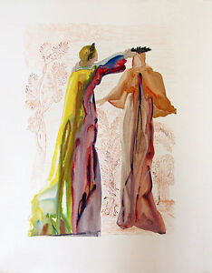 Salvador Dali 1960 DIVINE COMEDY PURGATORY 27 Color Woodcut Wood Block Engraving