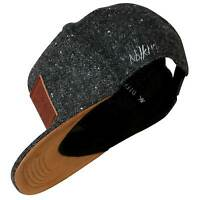 Nebelkind Snapback Cap graumeliert edel Patch aus Leder onesize unisex