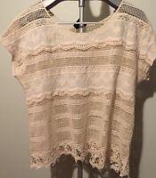 Bobeau Brand Short Sleeve Top Shirt XL Natural Crochet Lace Top Resort C10