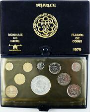 COFFRET  FLEUR  DE  COIN  1979  ,  LES  10  MONNAIES  DE  L'ANNÉE