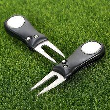 2x Stainless Steel Plastic Golf Green Divot Repair Switchblade Tool Ball Marker