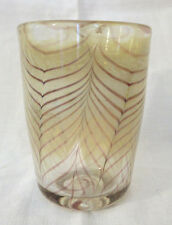 Art Glass Tumbler with Feather Pull Pattern