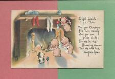 KEWPIES HANG STOCKINGS On Authentic ROSE O'NEILL Vintage 1919 CHRISTMAS Postcard