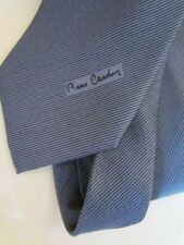 New Silk Tie Pierre Cardin Paris Small Woven Logo   dark Grey Skinny
