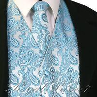 Turquoise Blue Paisley Tuxedo Suit Dress Vest Waistcoat & Neck tie Wedding Prom