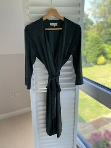 Hobbs Wrap Dress Green Animal Print Design Size 12