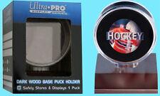 ULTRA PRO DARK WOOD BASE HOCKEY PUCK DISPLAY NEW Acrylic Case Holder Stand