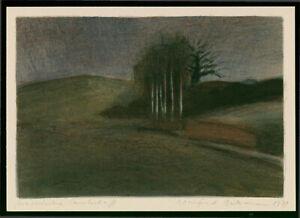 """Manfred Butzmann (1942 Potsdam,lebt in Potsdam)""""Masurische Landschaft"""" Farblitho"""