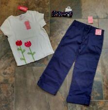NWT Sz 9 Gymboree HOLLAND DAYS Red Tulip White Top Navy Blue Capri Pants Hair