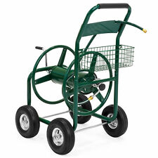 300ft Water Hose Reel Cart w/ Basket for Outdoor, Heavy Duty Yard Planting-Green