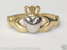 Ladies Claddagh Irish Wedding Ring Band 14k Yellow White Two Tone Solid Gold NEW