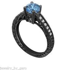 ENHANCED BLUE DIAMOND ENGAGEMENT RING 14K BLACK GOLD VINTAGE STYLE  0.62 CARAT