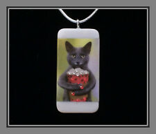 Russian Blue Cat Loves Cappuccino - Loaded With Jewels Pendant