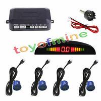 4 Parking Sensors LED Display Car Backup Reverse Radar System Kit 230CM Blue