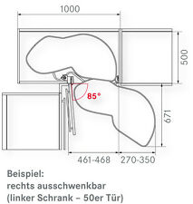 Kesseböhmer Eckschrank Schwenkboden Le  Mans II, 50er links, 729-900mm