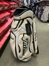 Titleist Golf Staff Cart Bag White Black Leather 6 Way Tops Lots Of Pockets