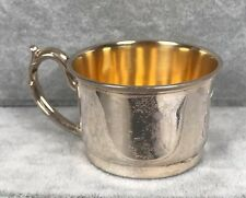 "Antique Sterling Baby Cup - No Dents - Gold Wash - WH & Co. - 1-3/8"" x 2""D 21.6g"