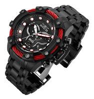 Invicta 33655 SHAQ Men 58MM Black Dial Quartz Black Tone Bracelet Watch NEW