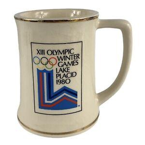 1980 XIII Olympic Winter Games Lake Placid Ceramic Stein Mug LEWIS BROS CERAMICS