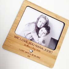 PERSONALISED MOTHER'S DAY MAGNETIC BAMBOO WOODEN PHOTO FRAME  GIFT (one only)