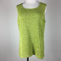 Pursuits Ltd XL Knit Top Shell Green Sleeveless Scoop Neck Stretch