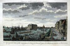 A VIEW OF AMSTERDAM DOCK YARD   c1778 GENUINE ANTIQUE COPPERPLATE ENGRAVING