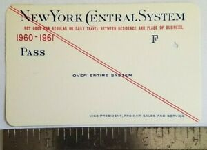 1960 - 1961 New York Central System Railroad Annual RR Ticket Pass Sample