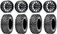 "Raceline Trophy 14"" Wheels Bk +38mm 30"" Roxxzilla 396 Tires Textron Wildcat XX"