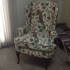 Stunning Vintage Crewel Embroidered Wing Chair Unique Exotic Birds