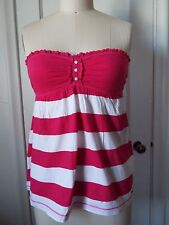 Hollister Babydoll Tube Top Hot Pink/White Stripe XS or Small New with Tags