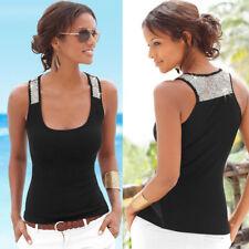UK Womens Sleeveless Sequin Vest Tops Summer Ladies Casual Blouse T Shirt 6-18