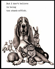 BASSET HOUND SURROUNDED BY RABBITS LOVELY COMIC DOG PRINT POSTER