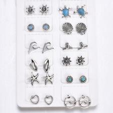 12 Pairs Boho Mixed Sea Turtle Mermaid Tail Rudder Ear Stud Earrings Set Jewelry