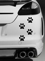 4 x Dog Paw Prints Quality vinyl car stickers Decals Black