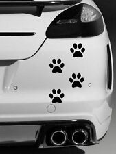 4 x Dog Paw Prints Quality vinyl car stickers Decals Black