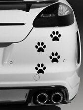 4 X Perro Huellas calidad Vinilo coche Stickers Calcomanías Negro