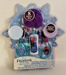 Disney Frozen II Bath Time Deluxe 8-piece Set Body Wash Shampoo Scrubby Steamers
