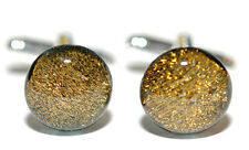 BEAUTIFUL AMBER GOLD BROWN FUSED GLASS CUFF LINKS (209)