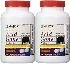 Acid Gone Antacid Heartburn Extra Strength Chewable Chew Tabs, 100 ct - 2 pack