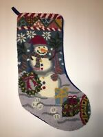 Christmas Stocking Punch Needle Hook Rug Needlepoint Snowman Presents Blue