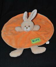 Peluche doudou lapin Baby brun beige plat rond MAXITA orange dessous bleu TTBE