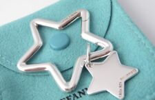 Charm Keychain Key Ring in Pouch Box Tiffany & Co. Sterling Silver Double Star