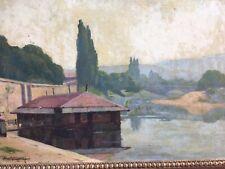Très Belle Peinture Lavoir ville Fleuve 1911 Huile Sur toile Signé