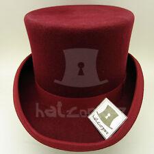 782cdf72a VINTAGE Wool Felt Men Topper Top Hat Tuxedo Victorian FORMAL | 57cm |  Burgundy