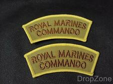 British Royal Marines Shoulder Titles / Badges, Tropical, Brown on Sand