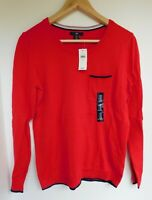 NWT Gap Women's Crew Neck Sweater Red/Navy Pocket XS MSRP$40 Free Shipping New