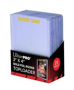 (25) Ultra Pro Gold Foil Rookie Card Topload Card Holder Toploaders Toploads