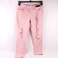 A.n.a Distressed Women's Skinny Ankle Mid Rise Jeans Light Pink Size 4 6 8 10