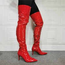 Womens Sexy Patent Leather Pointed Toe Thigh High Nightclub Boots Shoes Big Size